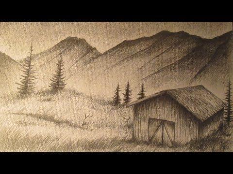 Cómo dibujar un paisaje realista a lápiz paso a paso - YouTube