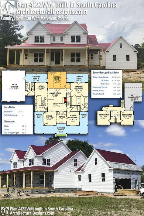 Plan 4122WM: Country Home Plan With Marvelous Porches | Architectural Design  House Plans, House And Porch