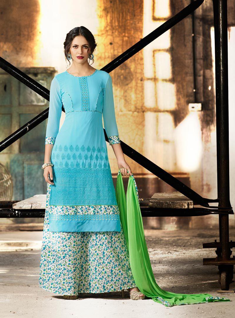 Sky Blue Georgette Palazzo Style Suit 80785 | fashion | Pinterest ...