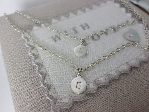 Personalised Double Hand Stamped Necklace, sterling silver discs