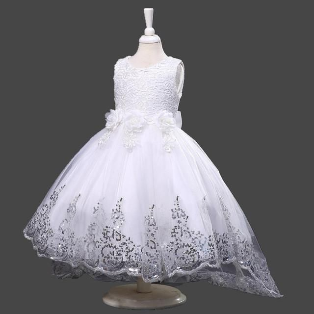 Kids S Party Dress Summer Long Tail Flower Formal Wedding Dresses Princess Ball Gown Vestidos For 2 10y Clothes