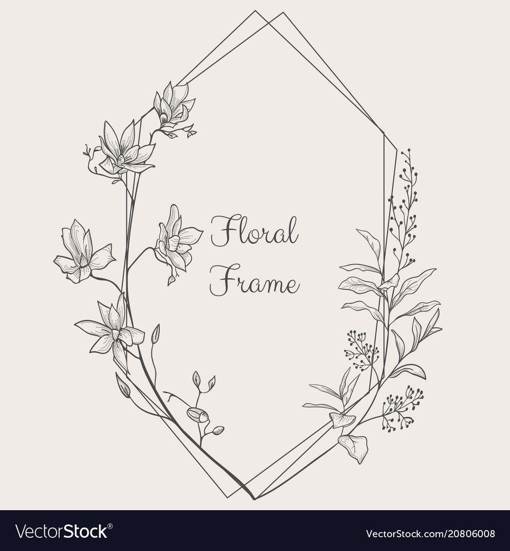 Delicate Floristic Geometric Frame Vector Image On Vectorstock Floral Border Design Flower Pattern Drawing Flower Line Drawings