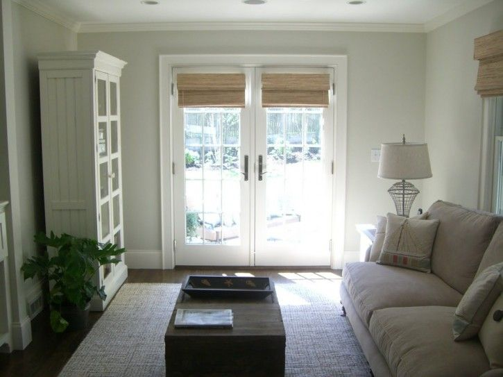 French Door Window Treatment Living Room Beach With Bamboo Blinds