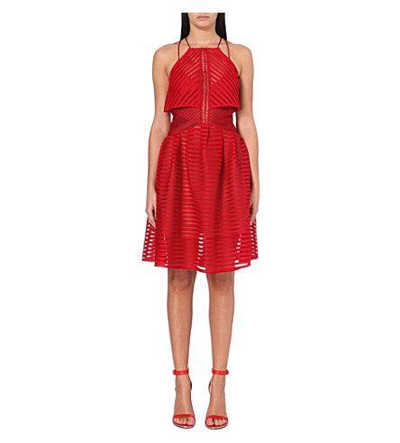 SELF-PORTRAIT Cropped overlay dress (Burgandy