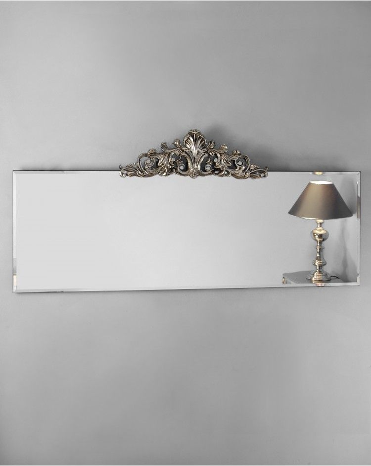 Sabotino Wide Ornate Frameless Overmantle Bevelled Glass Wall Mirrors with  Metallic Crest Detail. Sabotino Wide Ornate Frameless Overmantle Bevelled Glass Wall