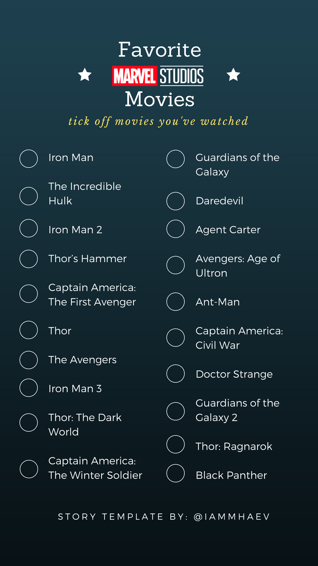 Favorite Marvel Movies Instagram Story Template | Maratón de ...