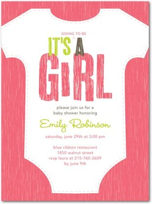 Exceptional Baby Shower Invitations Baby Style   Front : Medium Pink