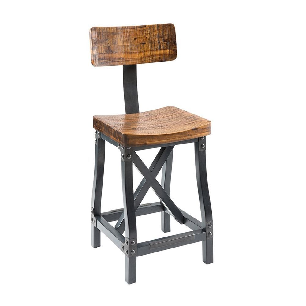 Industrial Rustic Modern Acacia Wood Counter Height Bar Stools with Back #ModhausLiving