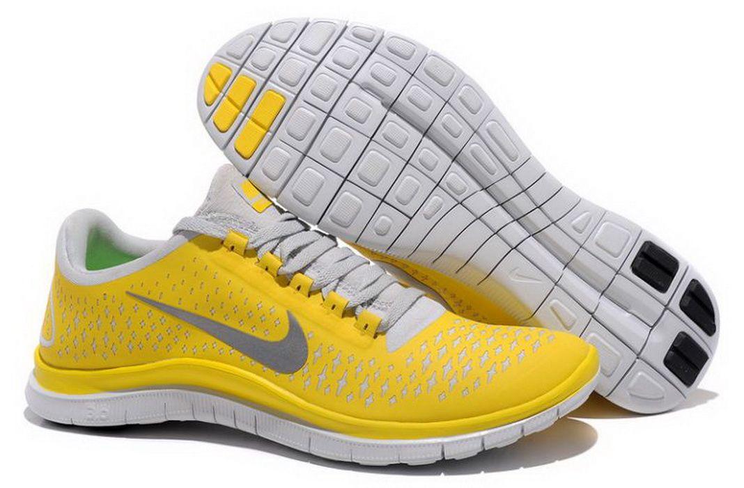 Nike Free 3.0 V4 Homme Chaussures De Course Chrome Jaune/Reflect  Argenté-Platinum