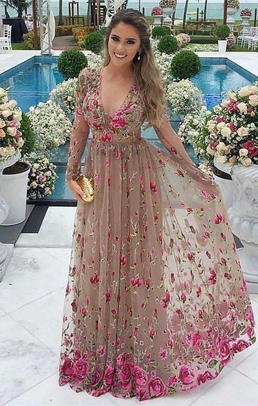 A Line V Neck Grey Tulle Prom Dress With Sleeves Appliques Vestidos Largos Florales Vestidos Formales Largos Vestidos De Fiesta
