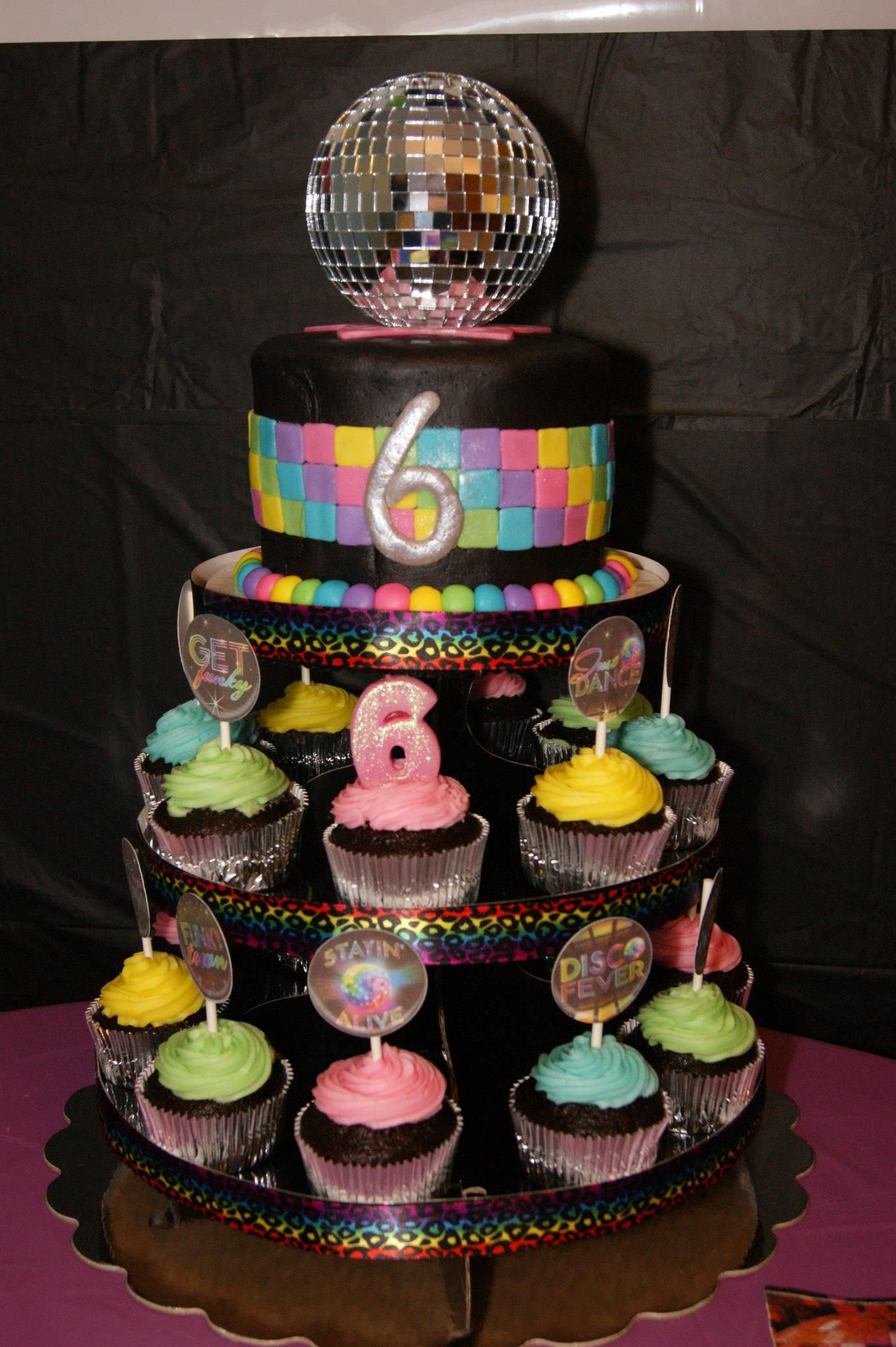 Just Dance Disco Party Cake Cupcake Tower Vanilla Cake With