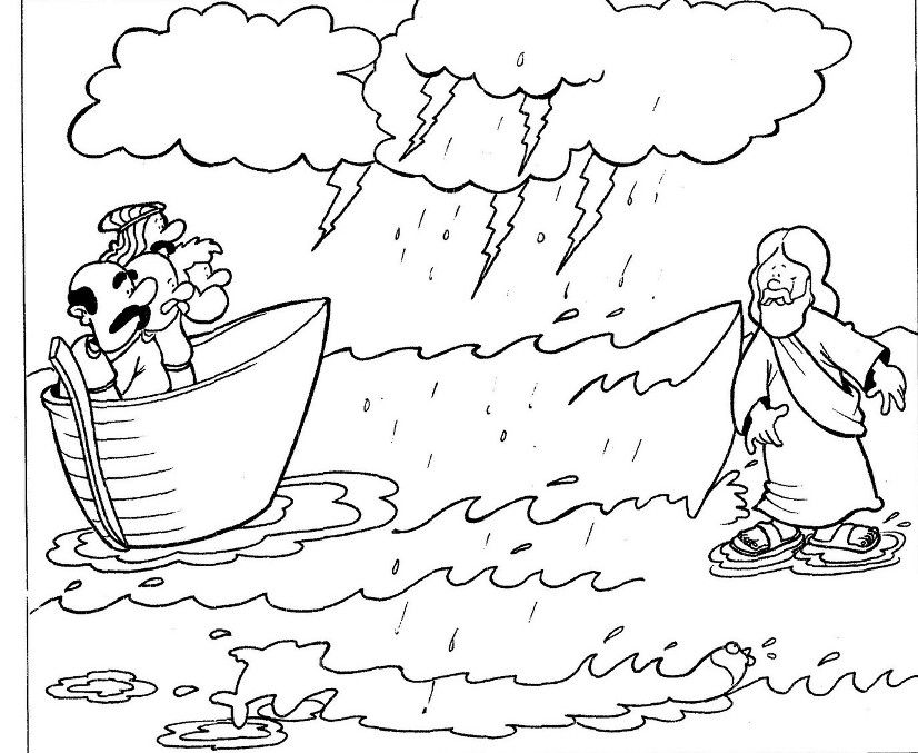 Jesus Walking On Water Jesus Walk On Water Sunday School Coloring Pages Bible Coloring Pages