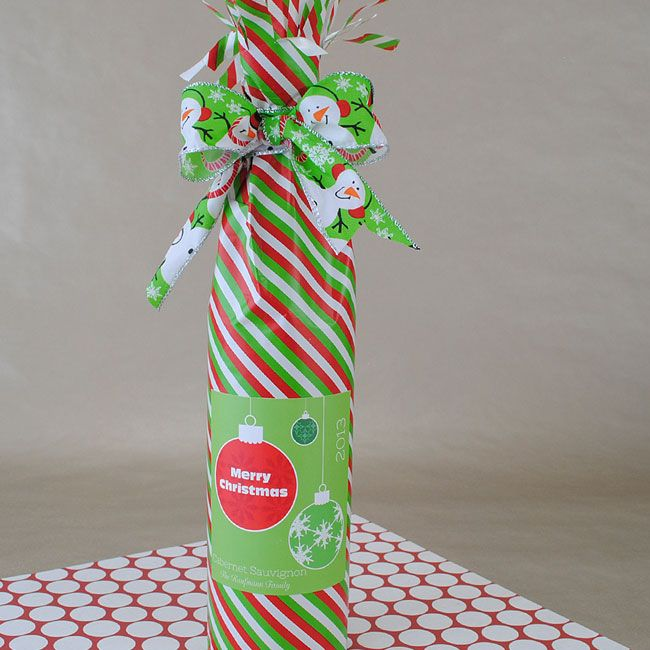 Wine Gift Wrapping Ideas Part - 45: Easy Wine Bottle Gift Wrap Idea -Use Supplies On Hand
