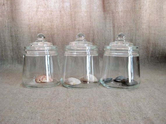 Vintage Glass Apothecary Jars Trio / Small by dewdropdaisies