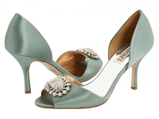 Slate blue-green low peeptoe pumps with pearl/jeweled embellishment and low heel