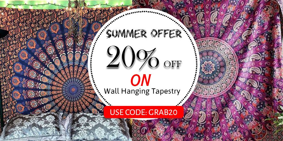 Handicrunch Offering Online Indian Printed Cotton Tapestry For Decor Your # Home