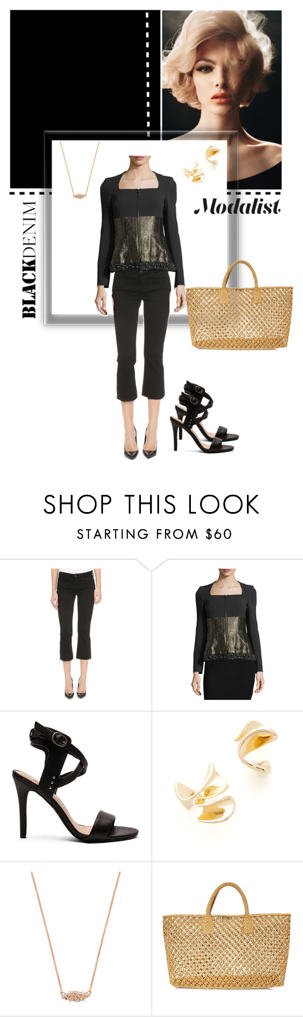 """Winters in Black"" by modalist on Polyvore featuring L'Agence, ESCADA, Joe's Jeans, Elizabeth and James, Kendra Scott and Hat Attack"