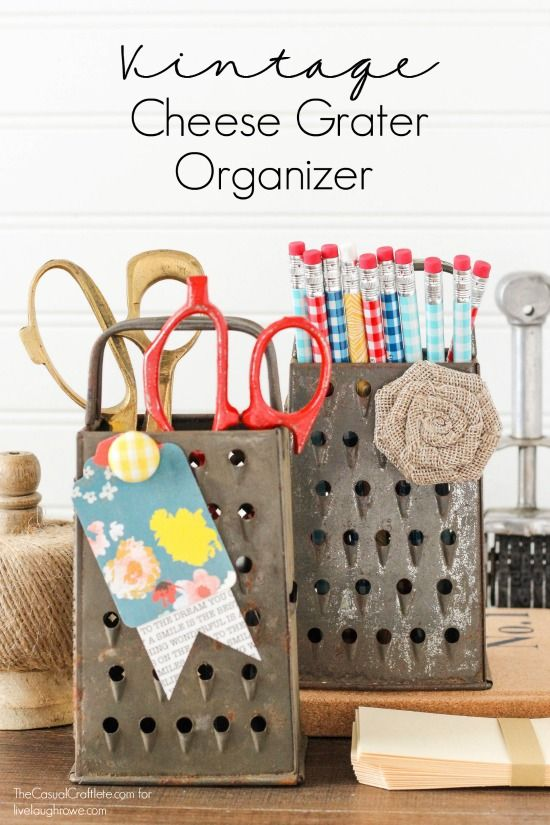 Super easy DIY! Turn vintage cheese graters into great storage for home office and craft supplies! livelaughrowe.com