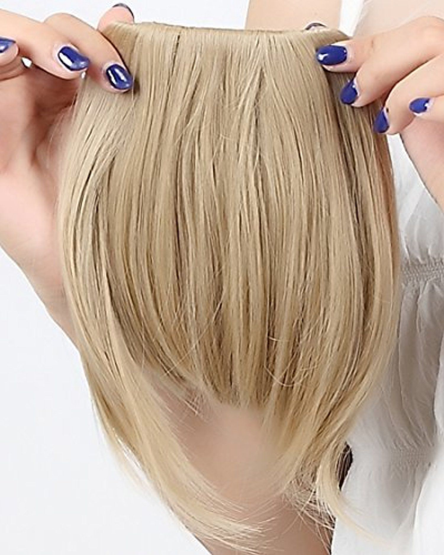 Fashion 820cm Bangs Clip In Hair Extensions Front Neat Ash Blonde