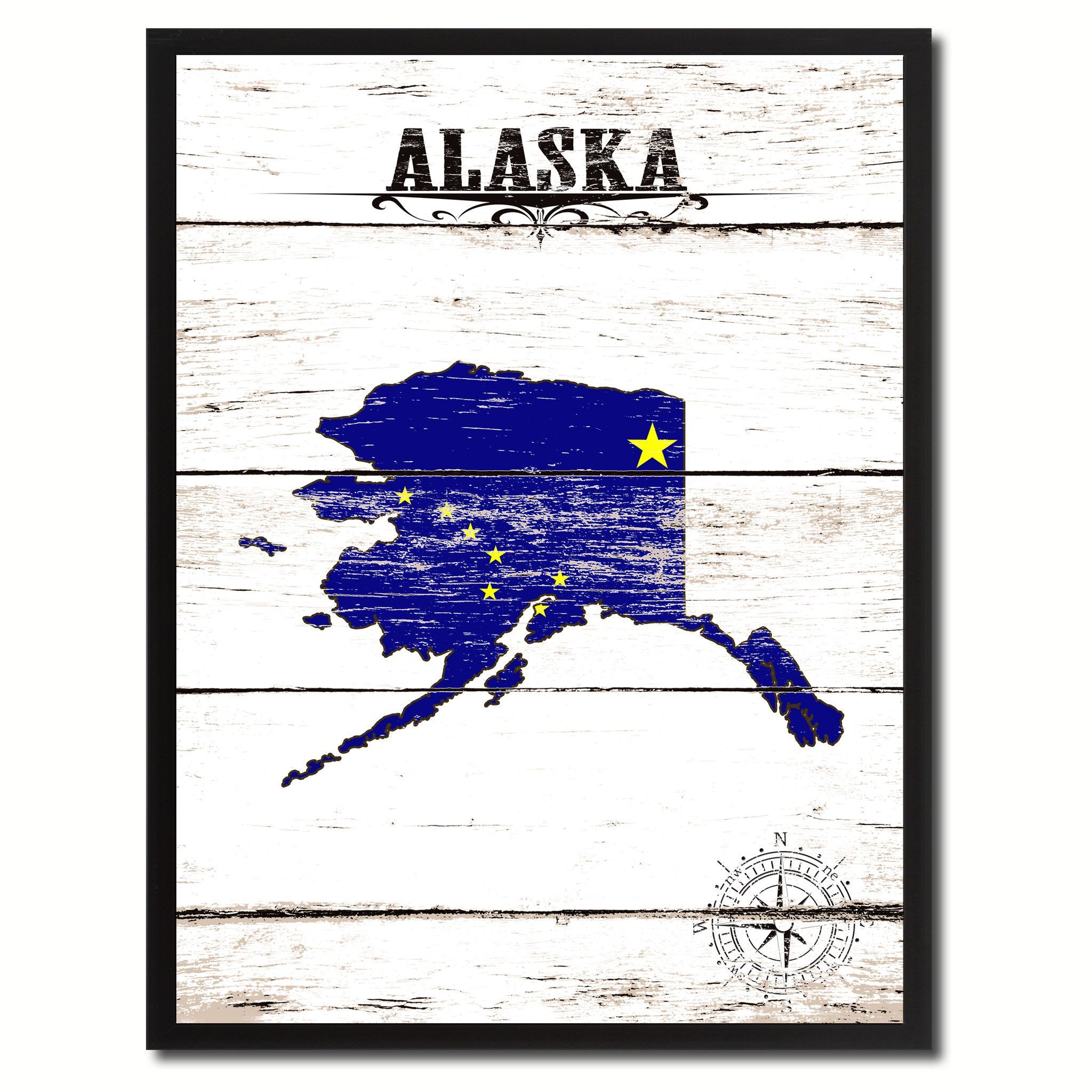 Alaska State Flag Gifts Home Decor Wall Art Canvas Print Picture ...