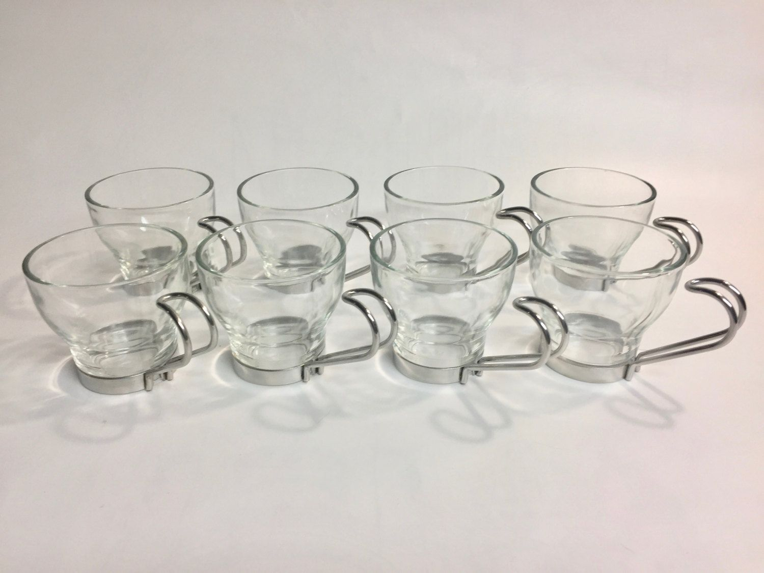 Mid Century Modern Vintage Glass Cup Set 8 Espresso With Silver Metal Handle Retro Glasses Mid Century Modern Glass B Glass Cup Set Glass Cup Retro Glasses