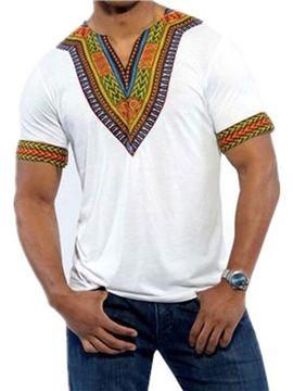 6afc84eab Dashiki Dress V-Neck African Ethnic Printed Slim Fit Men's Short Sleeve  Shirt - m.tbdress.com