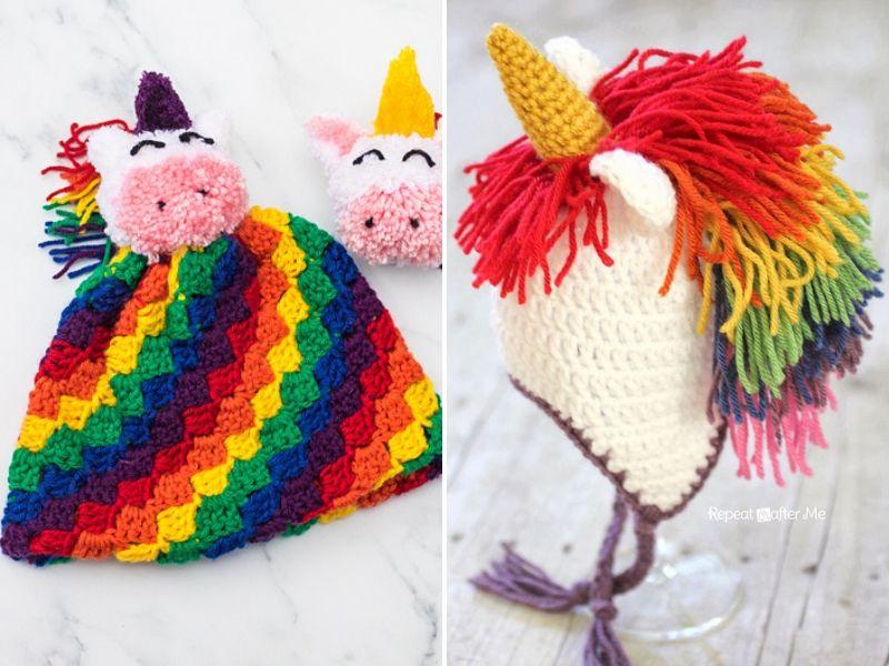 Crocheted Unicorn Hats in 2020   Crochet unicorn, Crochet ...