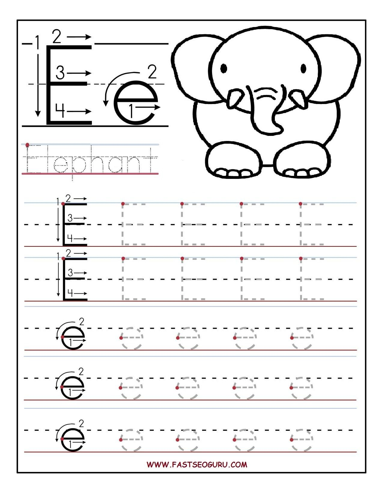 Printable letter E tracing worksheets for preschool | Alfabetização ...