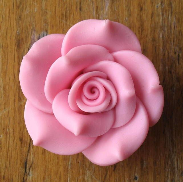 Beautiful Polymer Clay Roses (40mm): PINK  £0.75