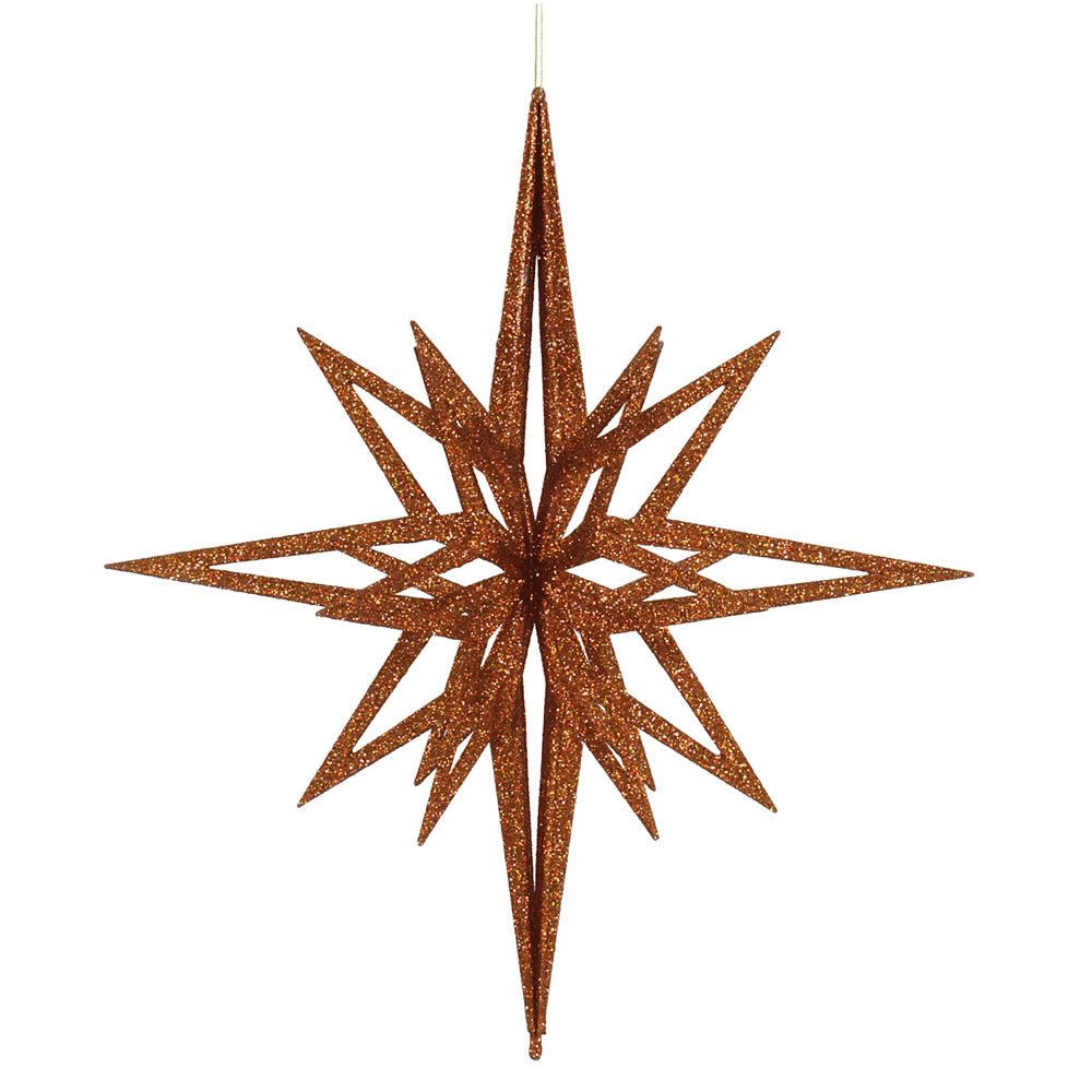 Copper Plastic 24 Inch 3 D Glitter Star Ornament 24 Copper 3d