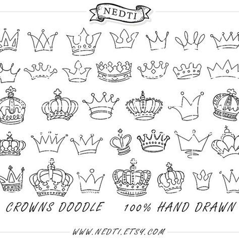 Crowns Doodle Hand Drawn Vector Prince Crown Digital Clipart