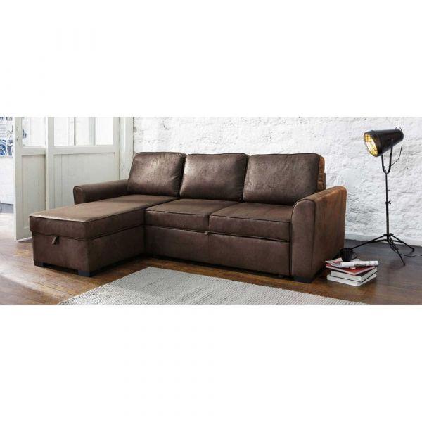 3 4 Seater Brown Microsuede Corner Sofa Bed Montreal Montreal Maisons Du Monde Us Living Room Furniture Sofa Corner Sofa Bed