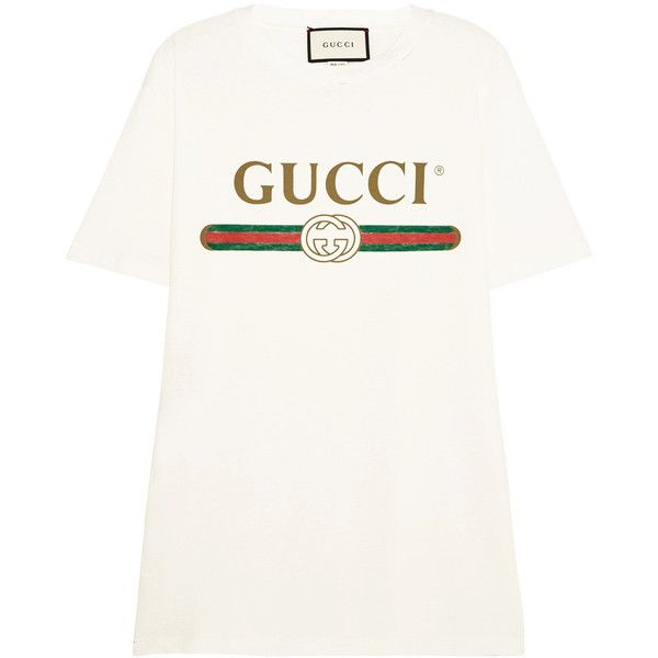 d938702cd Gucci Appliquéd distressed printed cotton-jersey T-shirt ($590) ❤ liked on Polyvore  featuring tops, t-shirts, gucci, shirts, tees, floral print shirt, ...