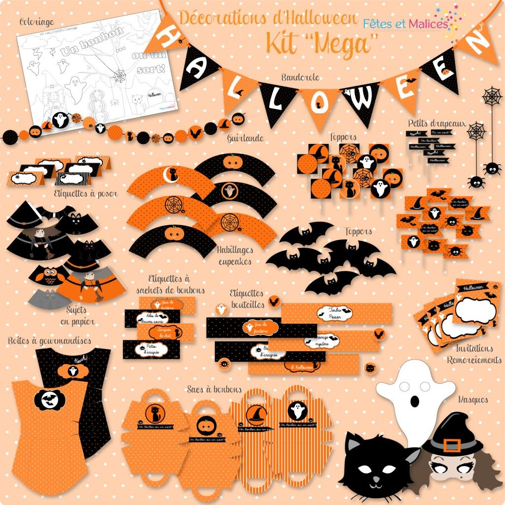 kit d co d 39 halloween imprimer printable sweet table. Black Bedroom Furniture Sets. Home Design Ideas