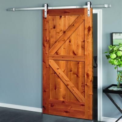 Steves Sons 30 In X 84 In Rustic 2 Panel Stained Knotty Alder Interior Sliding Barn Door Slab With Hardware Bdkka Awst 30slb The Home Depot Wood Doors Interior Barn Doors Sliding Interior