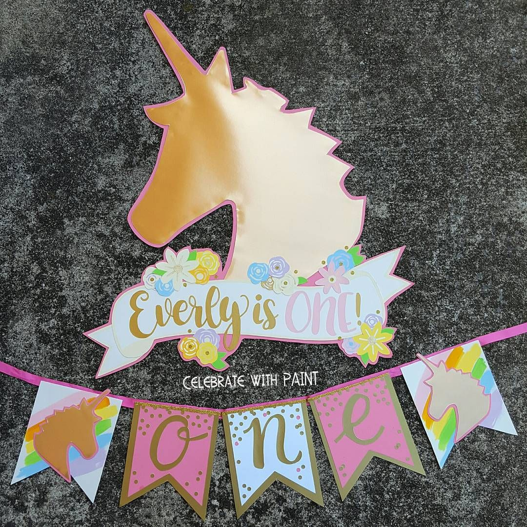 Pink Gold Unicorn With A Dash Of Rainbow Like Celebratewithpaint On Facebook Pintere Unicorn Party Paper Decorations Princess Theme Party