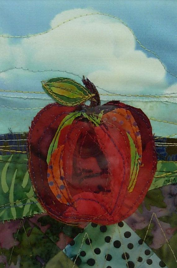 Red Apple framed fabric collage by cherylzmillerArt on