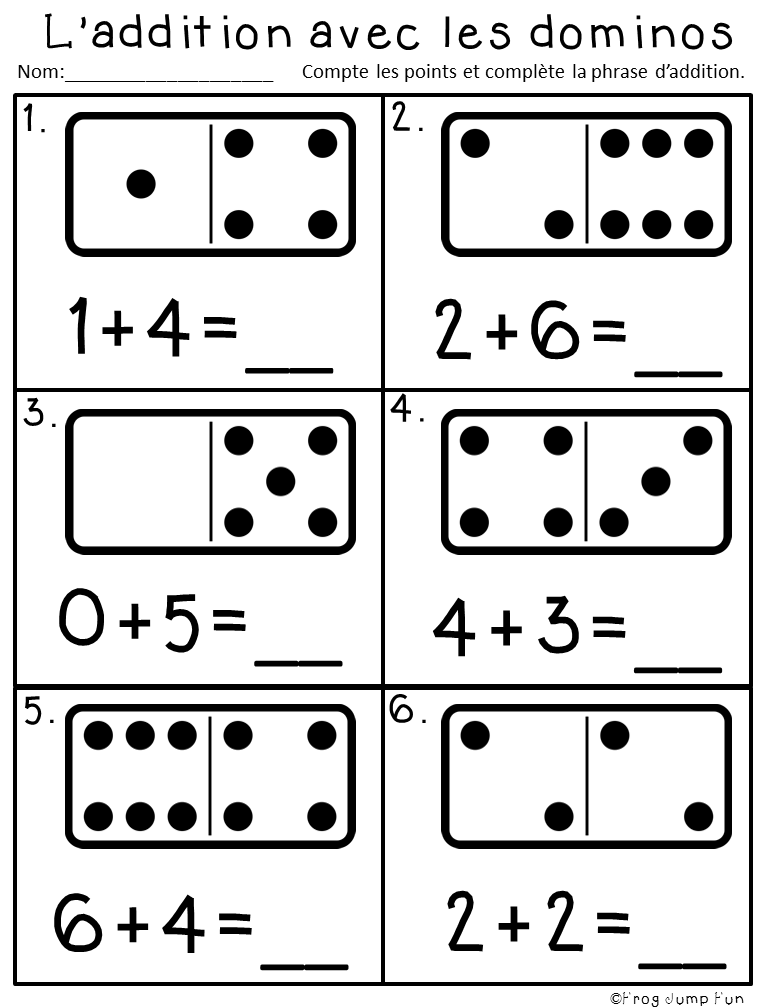 French Domino Additino Pack Kids Math Worksheets Preschool Math Kindergarten Math Worksheets