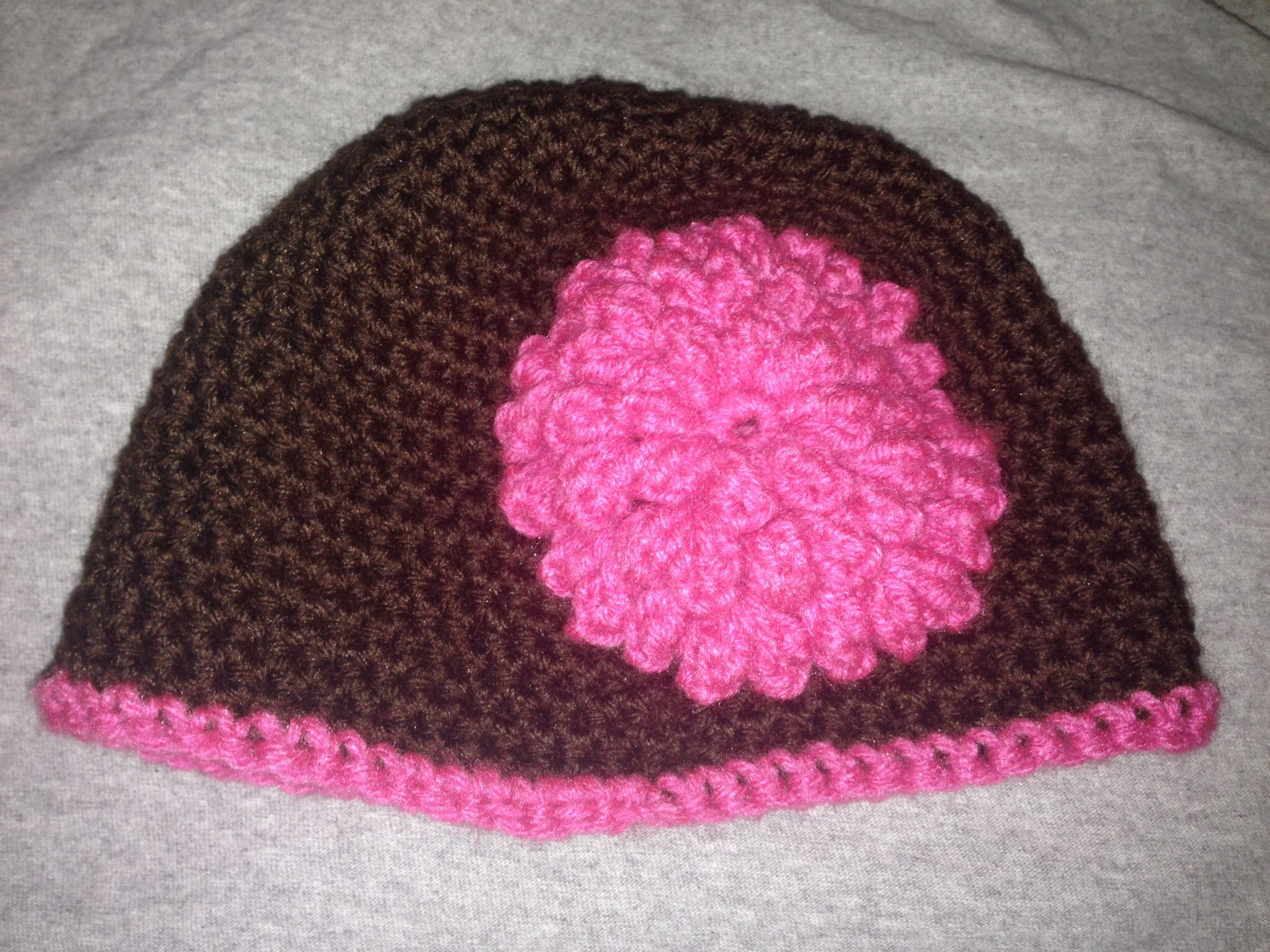 Easy beanie hat with popcorn flower appliqué i crocheted for my