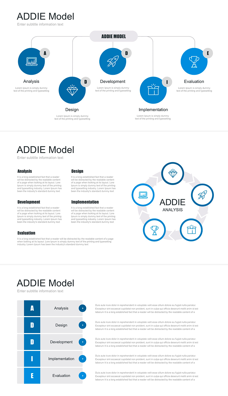 free addie model for powerpoint ppt 16 9 and 4 3 aspect ratio easy to edit ideal solution for create presentation report or business plan  [ 728 x 1265 Pixel ]