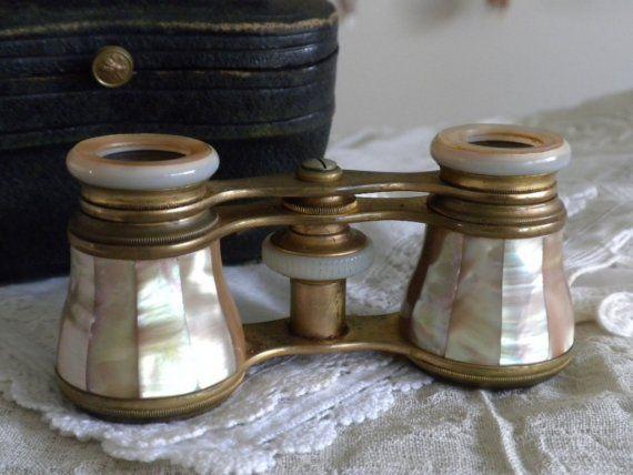 Arredamento D'antiquariato Antique Vintage Opera Binoculars Binocolo Mother Of Pearl Madreperla Argento Arte E Antiquariato