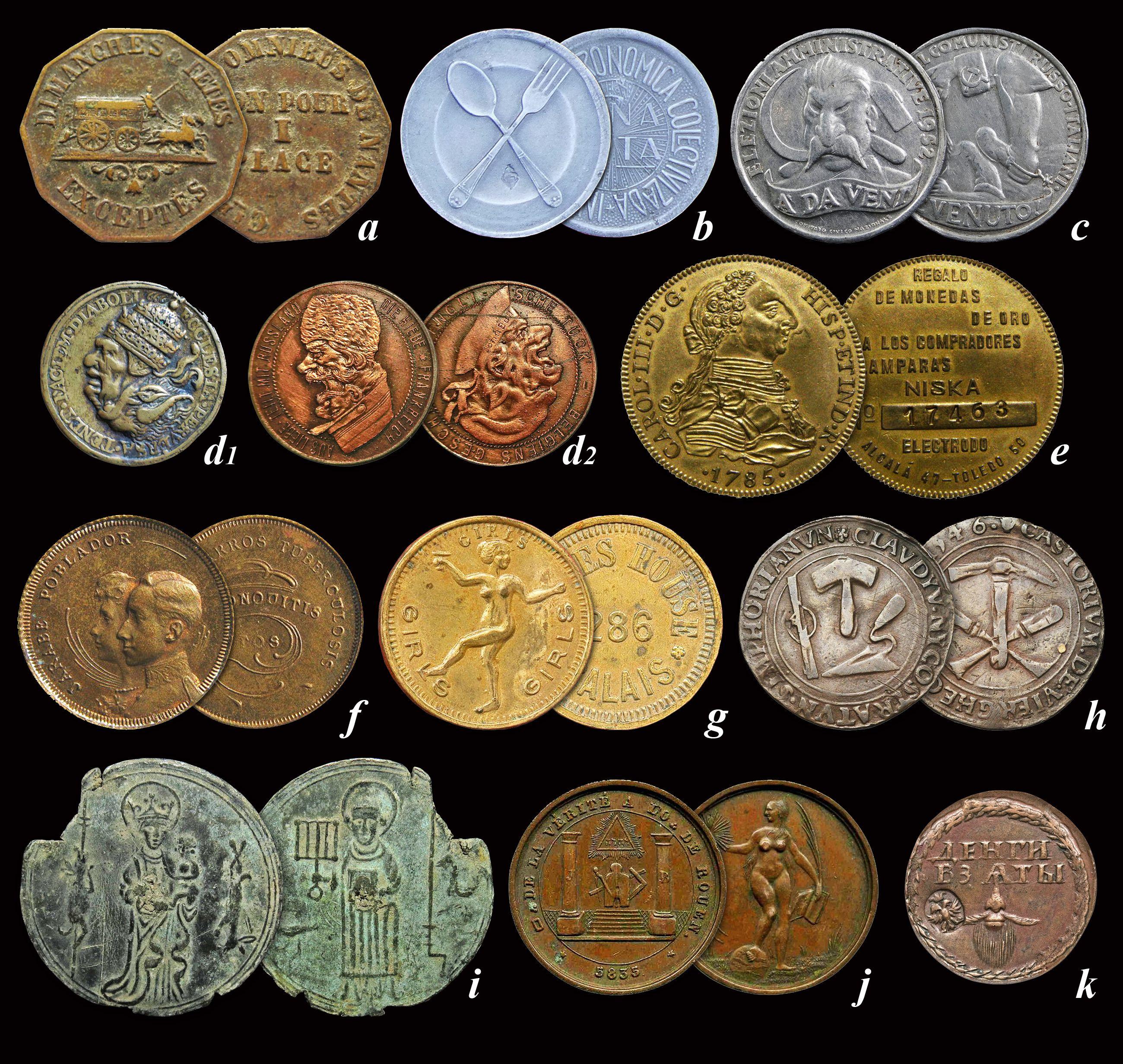 Diferentes Tipos De Fichas Tokens Y Jetones Monedas Fichas