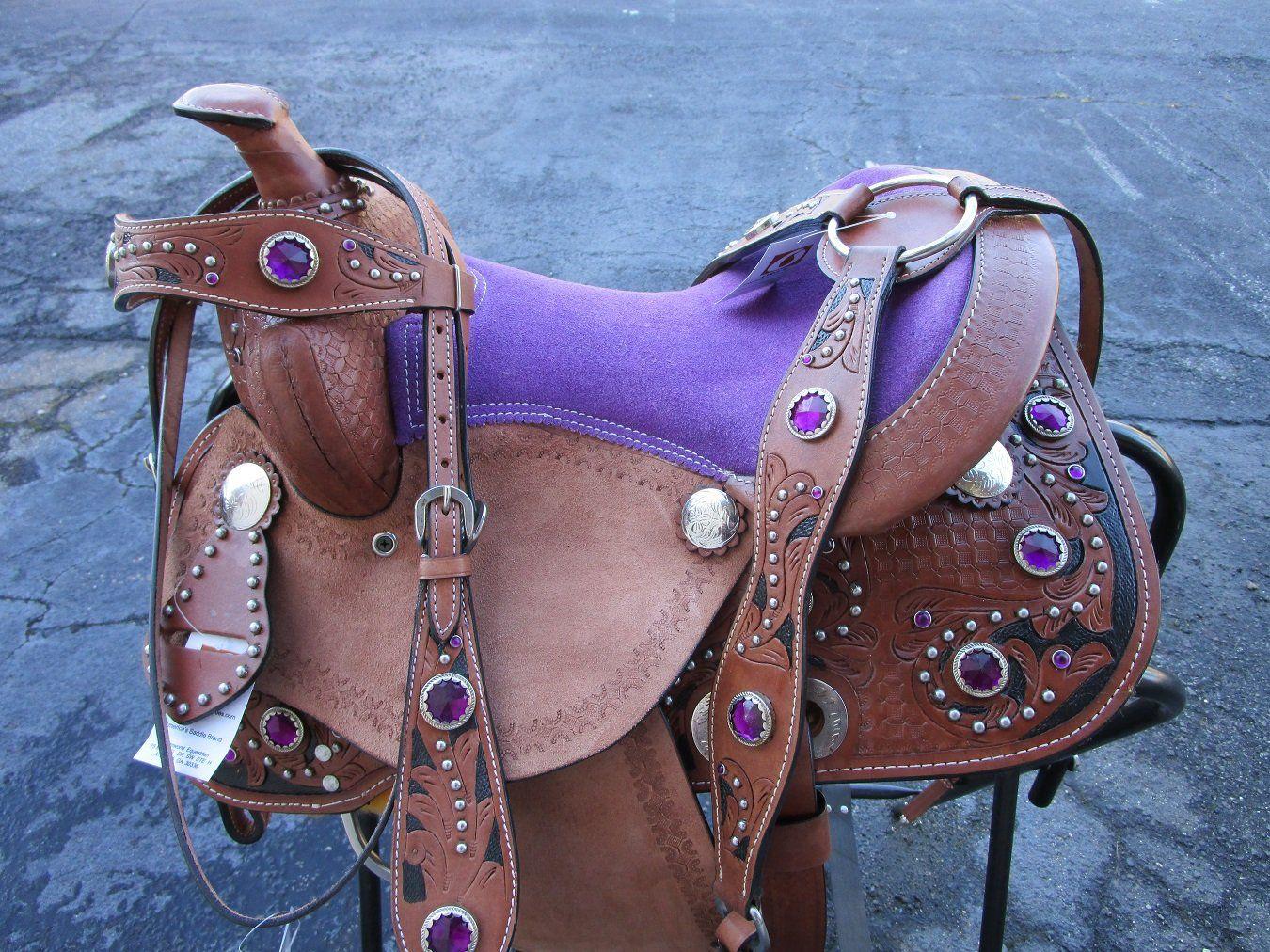Saddle Western Barrel Pleasure Trail Cowboy Cowgirl Tooled Floral Basket Brown Black Kids Saddle Western Saddles For Sale Barrel Saddles For Sale