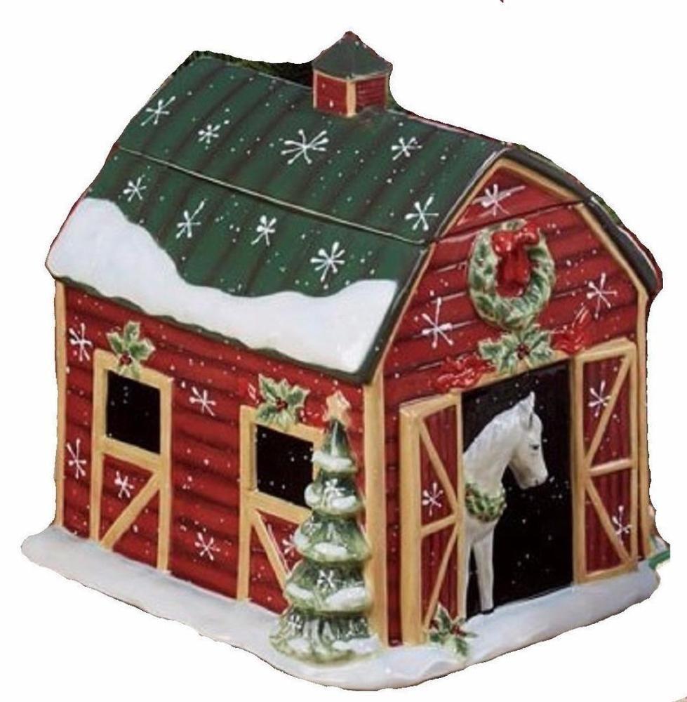 Susan Winget Holiday Horse Barn Cookie Jar Western Christmas New