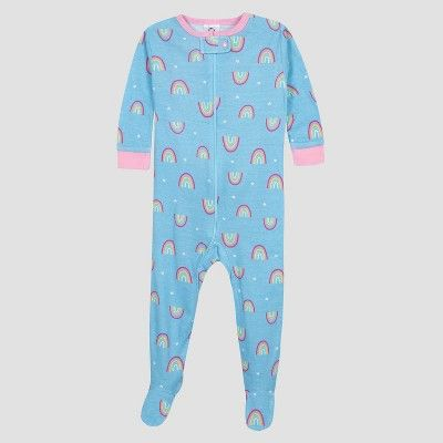 a53e203ae Gerber Baby Girls  2pk Rainbow Long Sleeve Cotton Footed Unionsuit ...