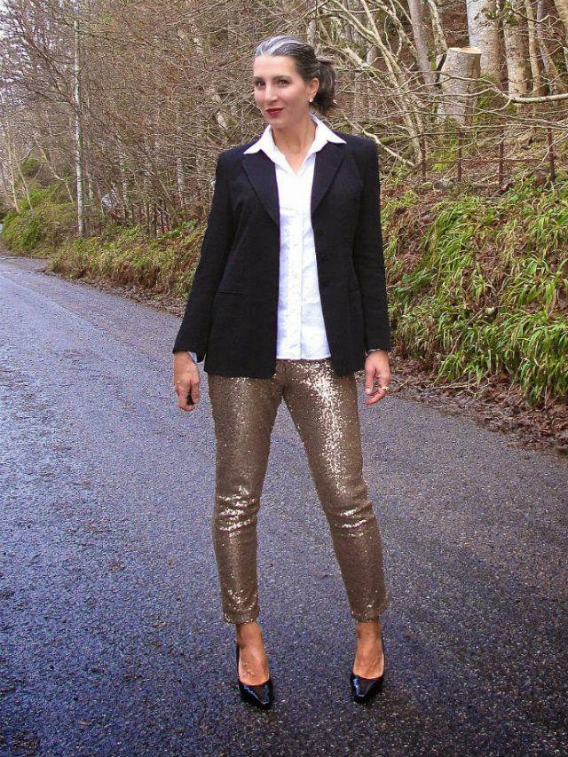 HIghland Fashionista's Kristin kicks up a black blazer with glittery gold pants.