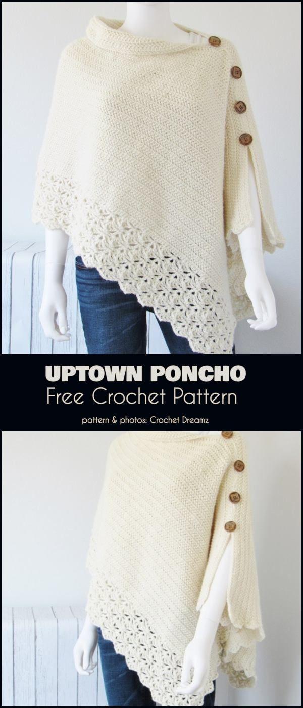 Uptown Poncho Free Crochet Pattern   – kreativ DIY Ideen.