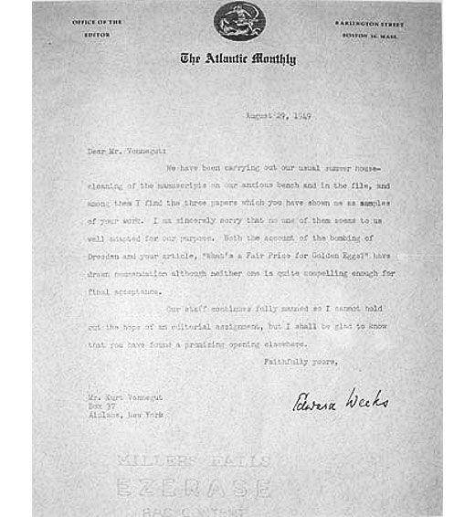 Kurt Vonnegut rejection letter It happens {Books Worth Reading - rejection letter