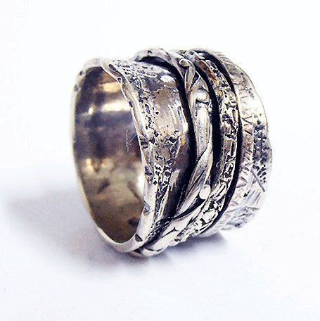 Meditation Thumb Ring Yoga Anti-Stress Anxiety Band Ring Spinner Ring Gift for HimHer Sterling Silver Spinner Ring