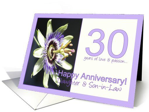 30th Anniversary For Daughter Son In Law Passion Flower Card